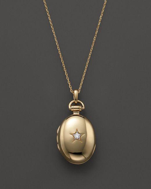 "Monica Rich Kosann   Metallic 18k Gold & Diamond Petite Oval Locket Necklace, 17""   Lyst"