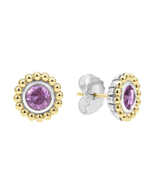 Lagos | Metallic Sterling Silver And 18k Gold Stud Earrings With Amethyst | Lyst