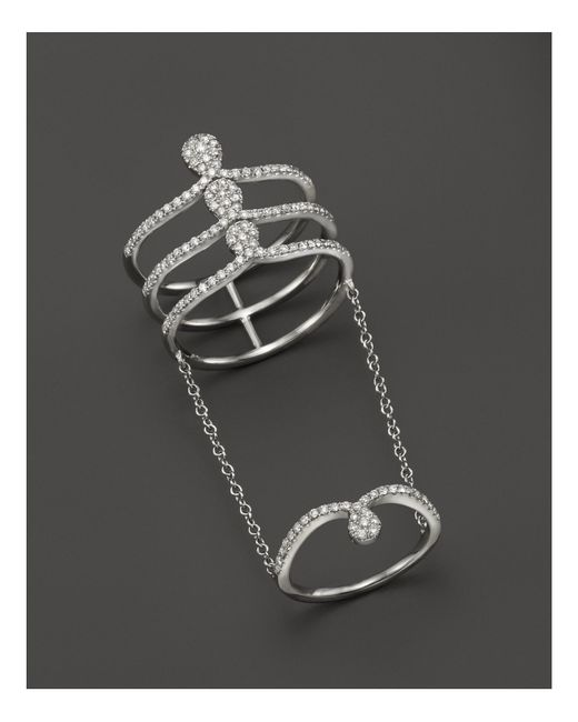 Meira T | 14k White Gold Midi Chain Ring With Diamonds | Lyst