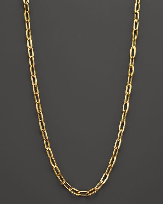"""Roberto Coin   Metallic 18k Yellow Gold Oval Necklace, 16""""   Lyst"""