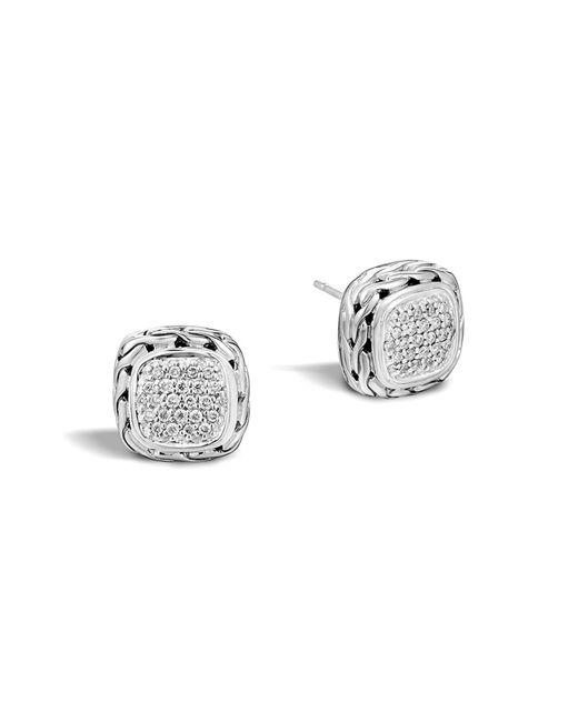 John Hardy | Metallic Classic Chain Stud Square Earrings With Pave Diamonds | Lyst