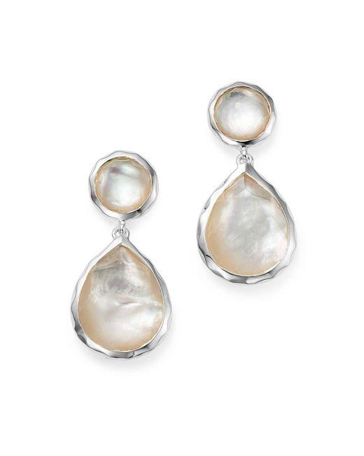 Ippolita   Metallic Sterling Silver Rock Candy Snowman Post Earrings In Mother-of-pearl   Lyst