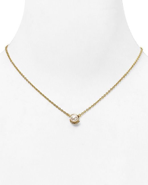 """kate spade new york   Metallic Dainty Sparklers Faux Pearl Pendant Necklace, 17""""   Lyst"""