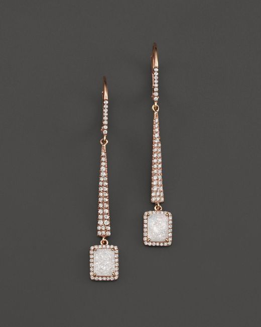 Meira T   Pink 14k Rose Gold Druzy Elongated Earrings With Diamonds   Lyst