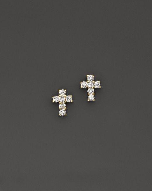 KC Designs | Metallic Diamond Small Cross Stud Earrings In 14k Yellow Gold - 100% Exclusive | Lyst