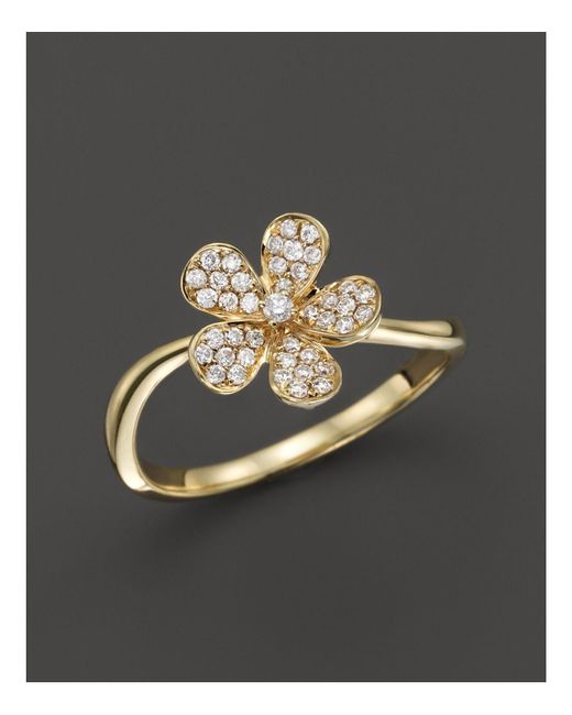 KC Designs | Metallic Small Diamond Flower Ring In 14k Yellow Gold | Lyst