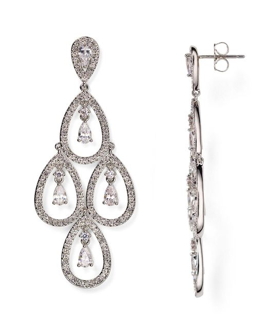 Nadri | Metallic Three-tiered Crystal Drop Earrings | Lyst