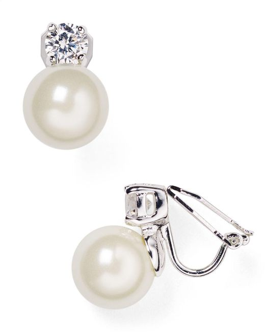 Pink Pony | Metallic Lauren Faux Pearl Clip-on Earrings | Lyst