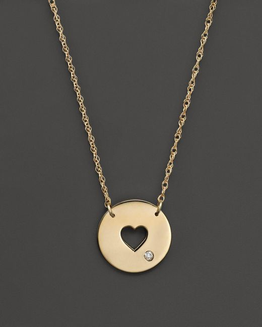 Jane Basch | Metallic 14k Yellow Gold Cut Out Heart Disc Pendant Necklace, 16"