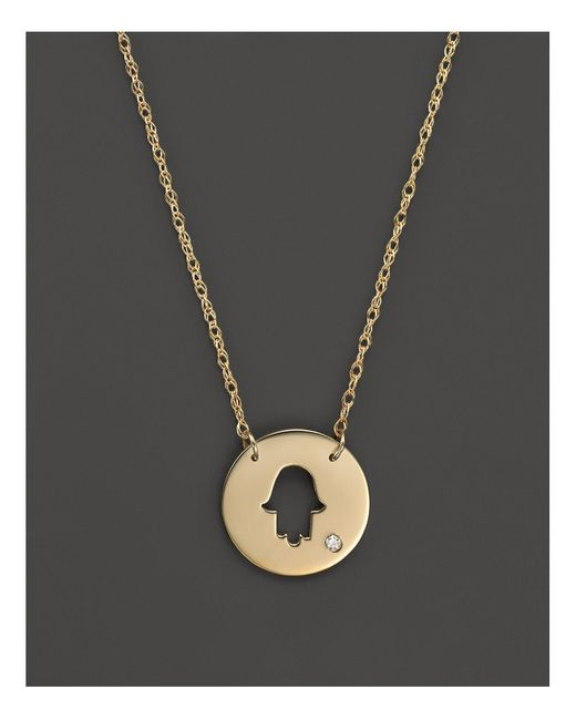 "Jane Basch | Metallic 14k Yellow Gold Cut Out Hamsa Disc Pendant Necklace, 16"" | Lyst"