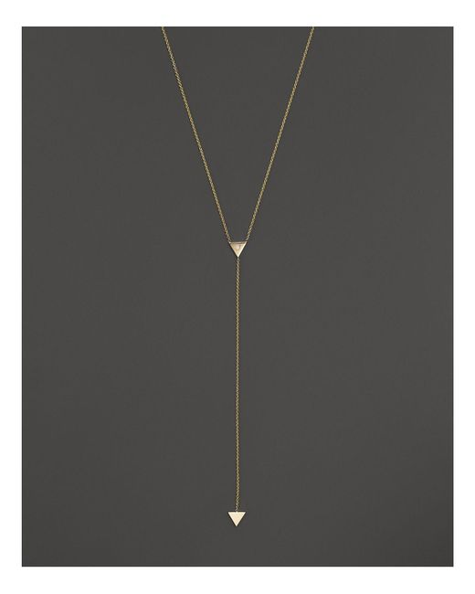 "Zoe Chicco | Metallic 14k Gold 2-triangle Lariat Necklace With Single Diamond, 16"" - 100% Bloomingdale's Exclusive 