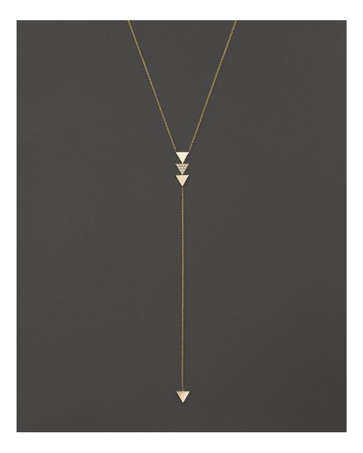 "Zoe Chicco | Metallic 14k Gold 4-triangle Lariat Necklace With Diamonds, 18"" - 100% Bloomingdale's Exclusive 