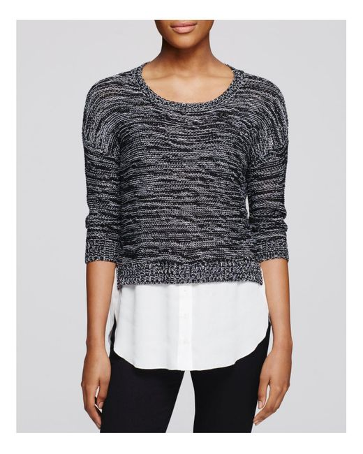 Aqua | Black Marled Crop Sweater | Lyst