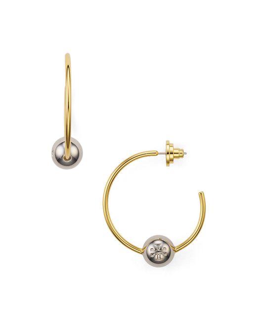 Tory Burch   Metallic Logo Loop Hoop Earrings   Lyst
