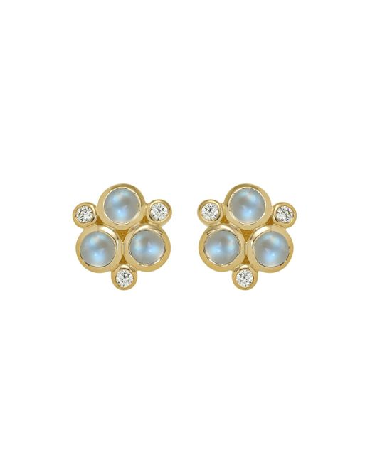 Temple St. Clair | Classic Trio Earrings With Royal Blue Moonstone And Diamonds In 18k Yellow Gold | Lyst