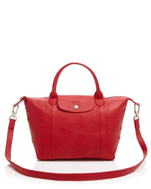 Longchamp | Red Le Pliage Small Leather Satchel | Lyst