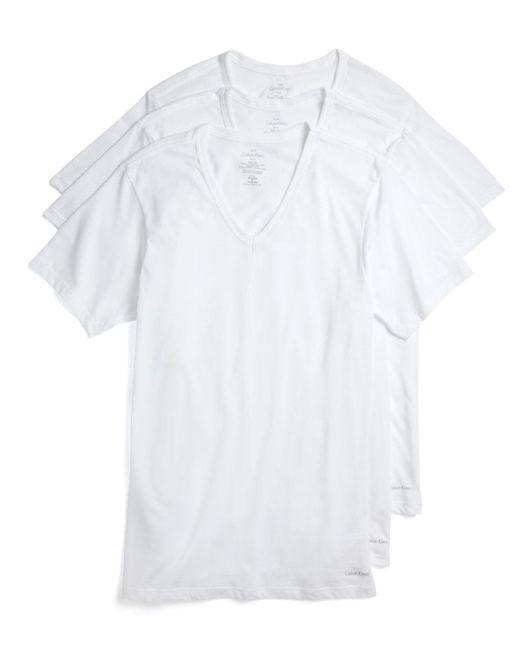 Calvin Klein | White Cotton Classics V-neck Tees, Pack Of 3 for Men | Lyst