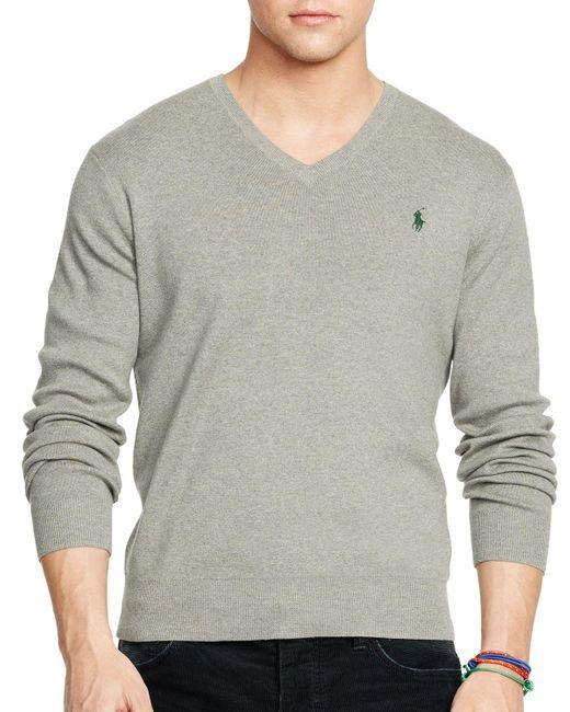 Polo Ralph Lauren | Gray Pima V-neck Sweater for Men | Lyst