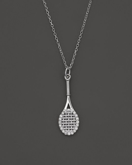 "KC Designs | Metallic Diamond Tennis Racket Pendant Necklace In 14k White Gold, 16"" - 100% Exclusive 