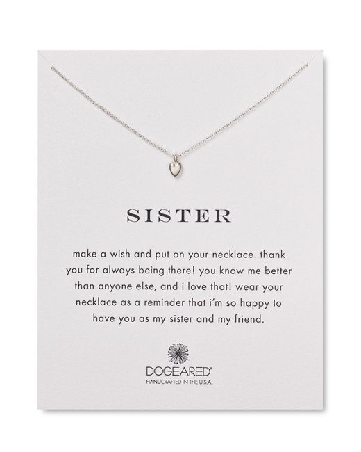 Dogeared | Metallic Sister Heart Necklace, 18"