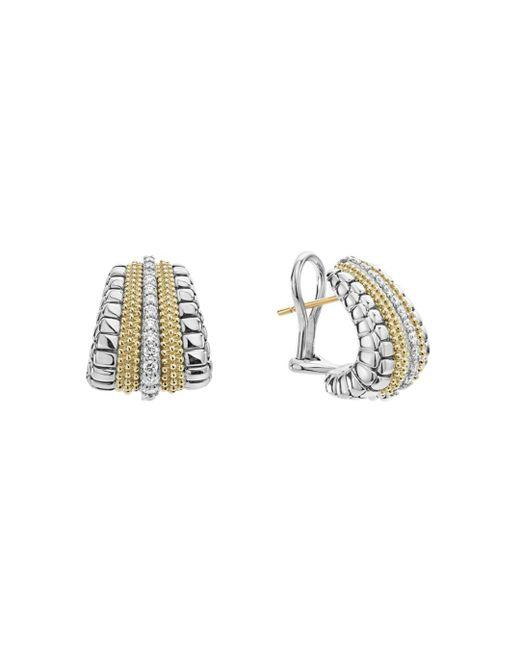 Lagos - Metallic 18k Gold And Sterling Silver Diamond Lux Graduated Huggie Hoop Earrings - Lyst