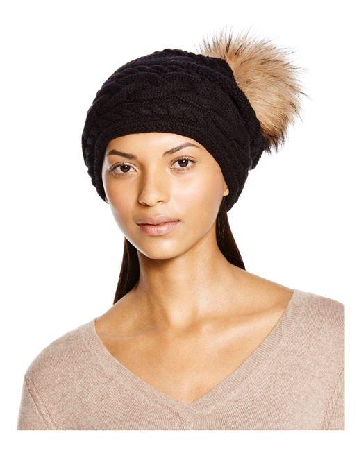 Inverni | Black Braid Knit Beanie With Asiatic Raccoon Fur Pom-pom | Lyst