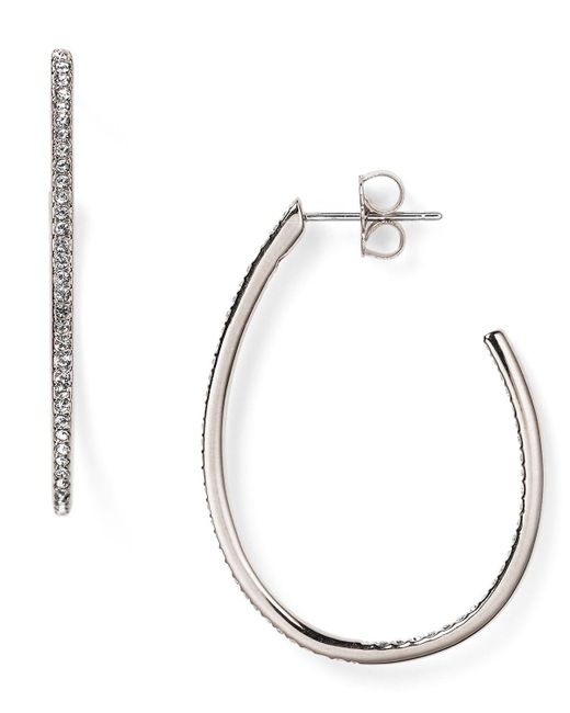 Nadri | Metallic Pave Teardrop Hoop Earrings | Lyst