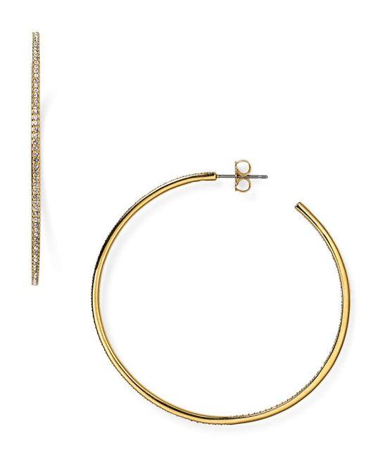 Nadri   Metallic Pave Hoop Earrings   Lyst