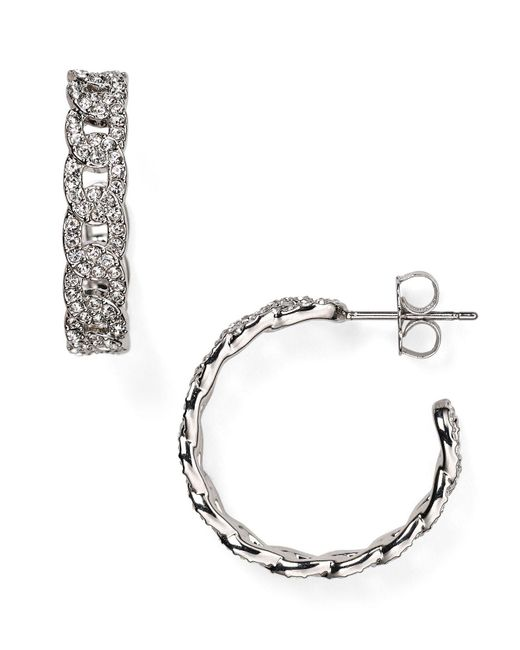 Nadri | Metallic Crystal-studded Hoop Earrings | Lyst