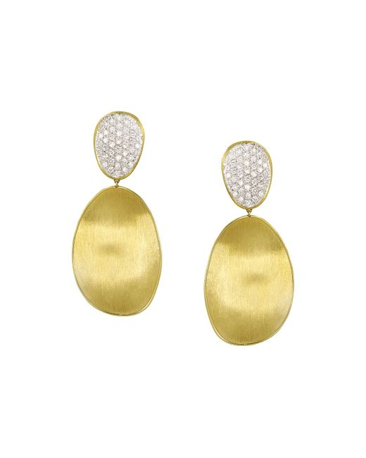 Marco Bicego | Metallic Diamond Lunaria Two Drop Large Earrings In 18k Gold | Lyst
