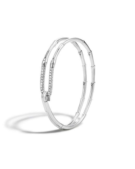 John Hardy | White Bamboo Silver Diamond Hook Bracelet | Lyst