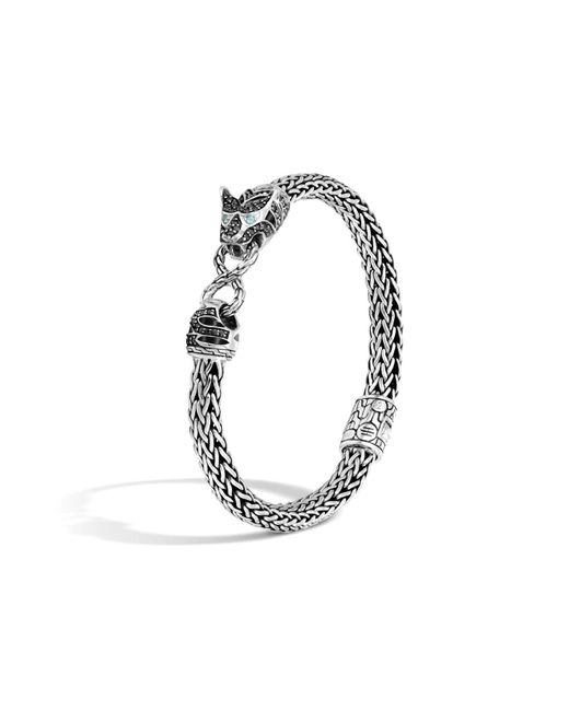 John Hardy | Classic Chain Silver Lava Small Macan Bracelet With Black Sapphire, Black Spinel And Swiss Blue Topaz Eyes | Lyst