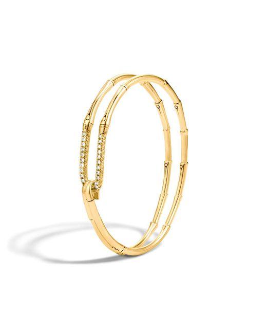 John Hardy   Metallic Bamboo 18k Gold Diamond Hook Bracelet   Lyst