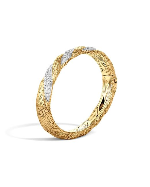 John Hardy | Metallic Classic Chain 18k Gold Diamond Pavé Hinged Bangle | Lyst