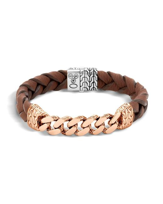 John Hardy | Metallic Classic Chain Gourmette Bronze & Sterling Silver Bracelet On Braided Brown Leather Cord for Men | Lyst
