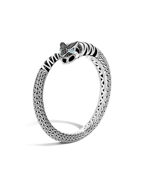 John Hardy | Classic Chain Sterling Silver Lava Macan Kick Cuff With Black Sapphire And Swiss Blue Topaz | Lyst