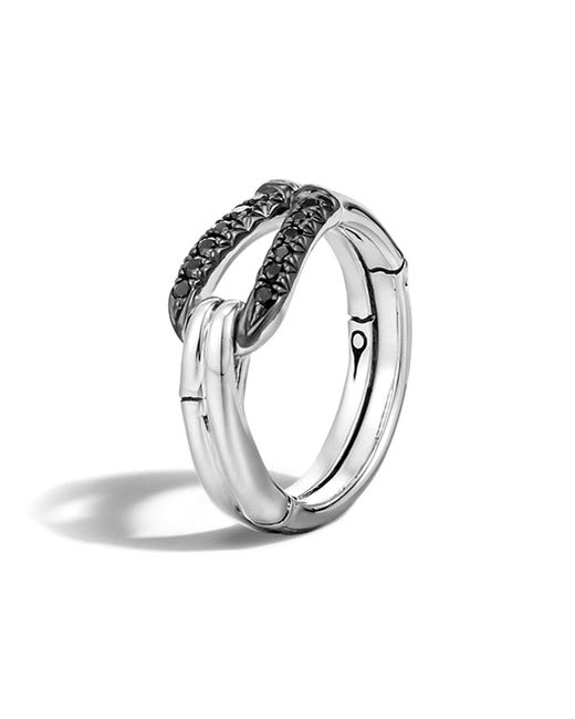 John Hardy | Bamboo Silver Lava Hook Ring With Black Sapphire | Lyst