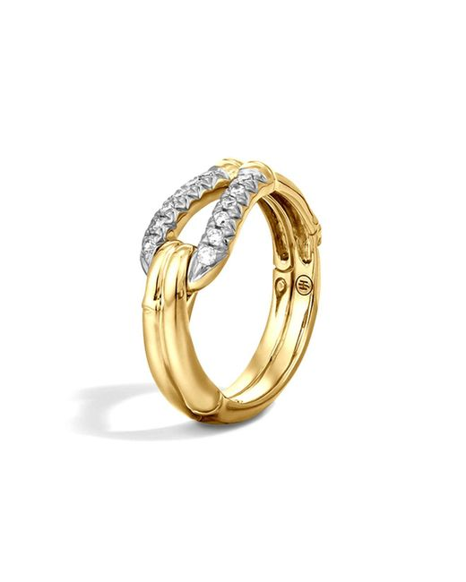John Hardy | Metallic Bamboo 18k Gold Diamond Hook Ring | Lyst