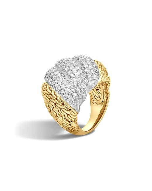 John Hardy | Metallic Classic Chain 18k Gold Diamond Pave Dome Ring | Lyst