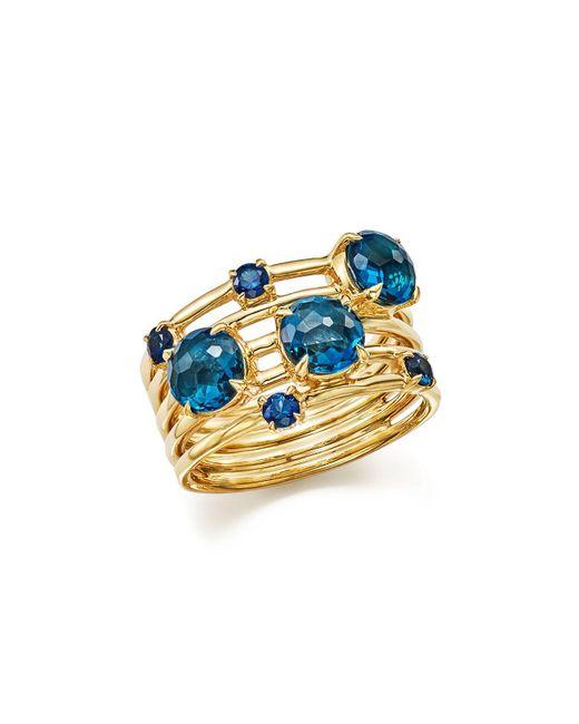 Ippolita | 18k Gold Lollipop Constellation Ring In London Blue Topaz And Medium Blue Sapphire | Lyst