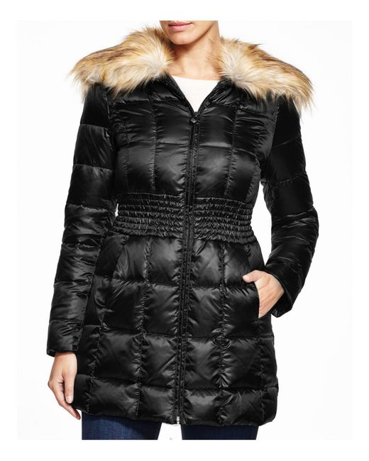 Laundry by Shelli Segal | Black Faux Fur Trim Puffer Coat | Lyst