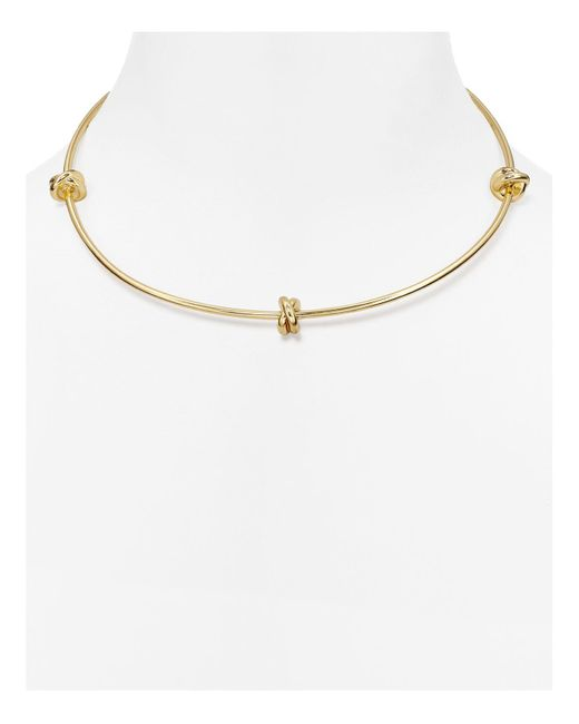Aqua | Metallic Carine Knotted Collar Necklace | Lyst