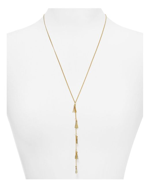 Lydell NYC | Metallic Kyla Fringe Necklace, 22"