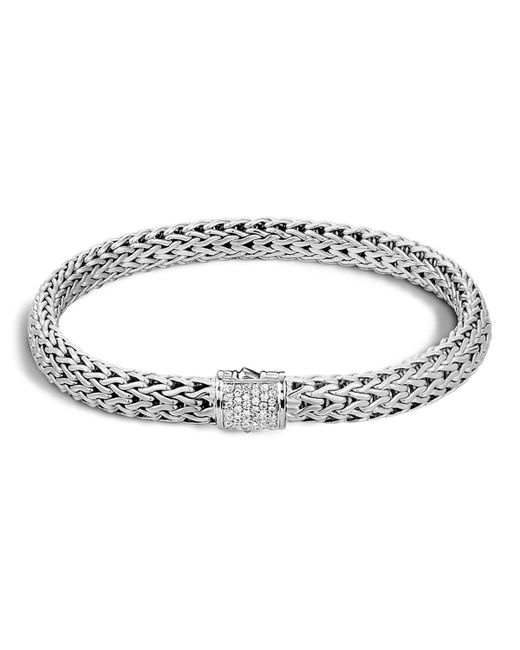 John Hardy | Metallic Classic Chain Sterling Silver Small Bracelet With Diamond Pave | Lyst