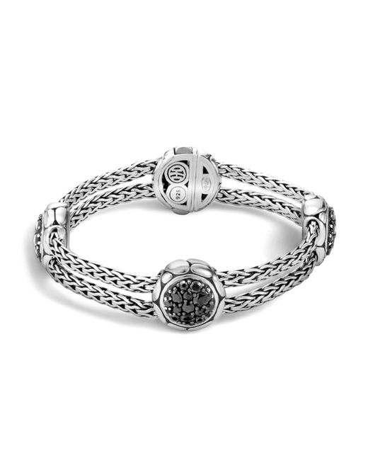 John Hardy | Metallic Kali Sterling Silver Pure Lava Fire Four Station Bracelet With Black Sapphire | Lyst