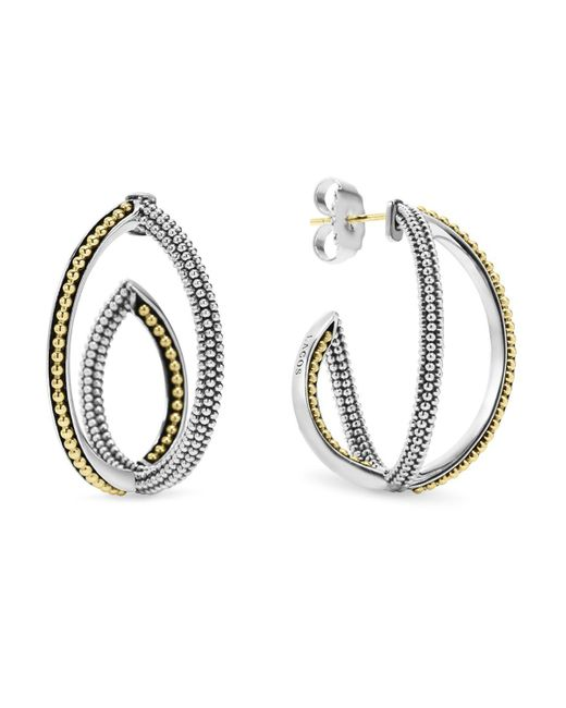 Lagos | Metallic Sterling Silver And 18k Gold Caviar Bead Hoop Earrings | Lyst