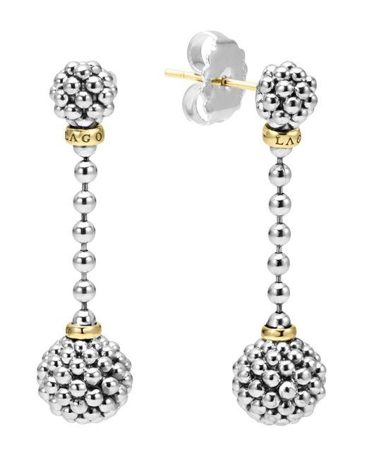 Lagos   Metallic Sterling Silver Caviar Beaded Drop Earrings With 18k Gold   Lyst