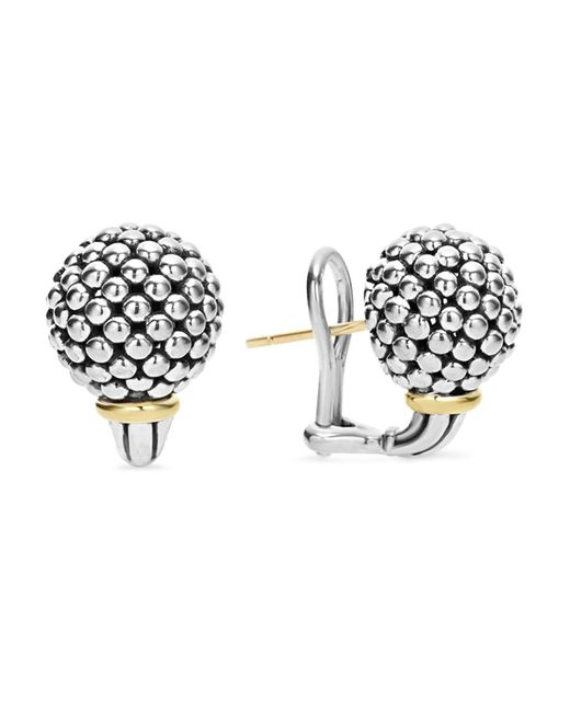 Lagos | Metallic Sterling Silver Small Caviar Bead Stud Earrings With 18k Gold | Lyst