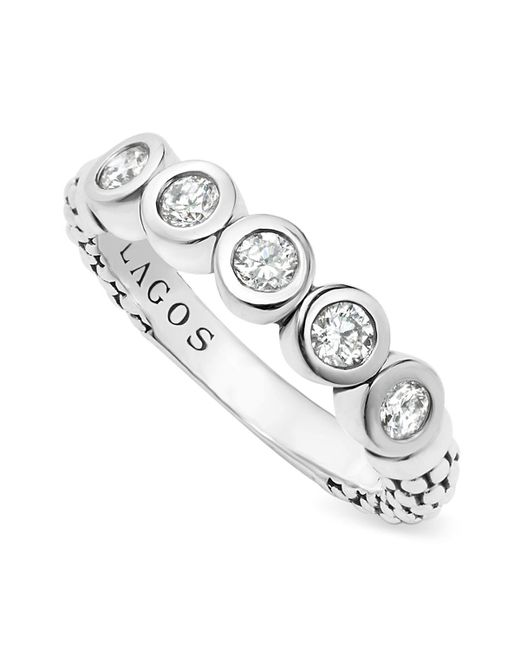 Lagos   White Sterling Silver Five Diamond Stacking Ring   Lyst