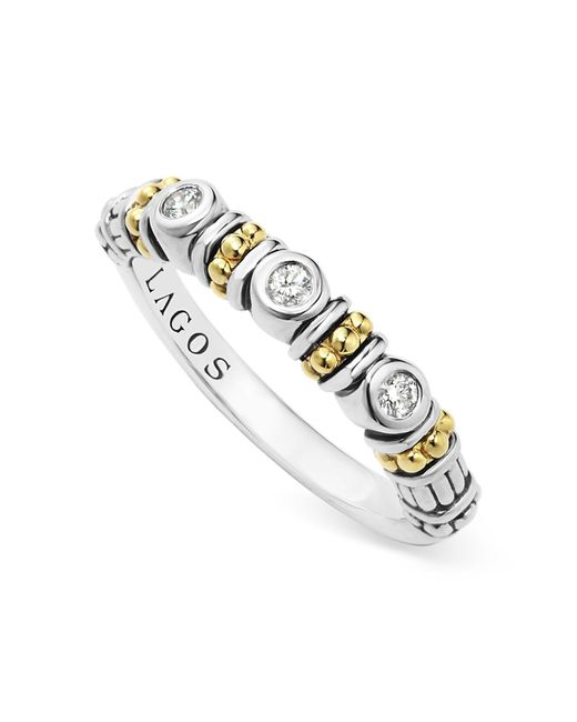 Lagos | Metallic Sterling Silver Three Diamond Stacking Ring With 18k Gold Stations | Lyst